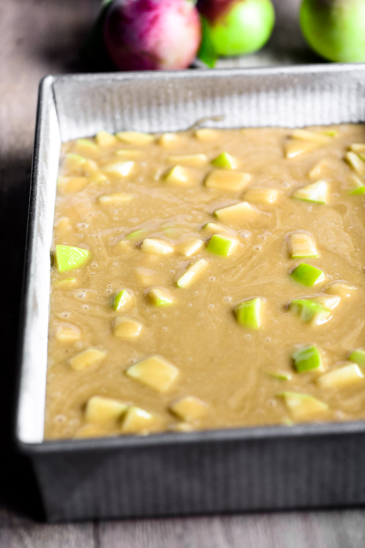 apple cake batter in pan