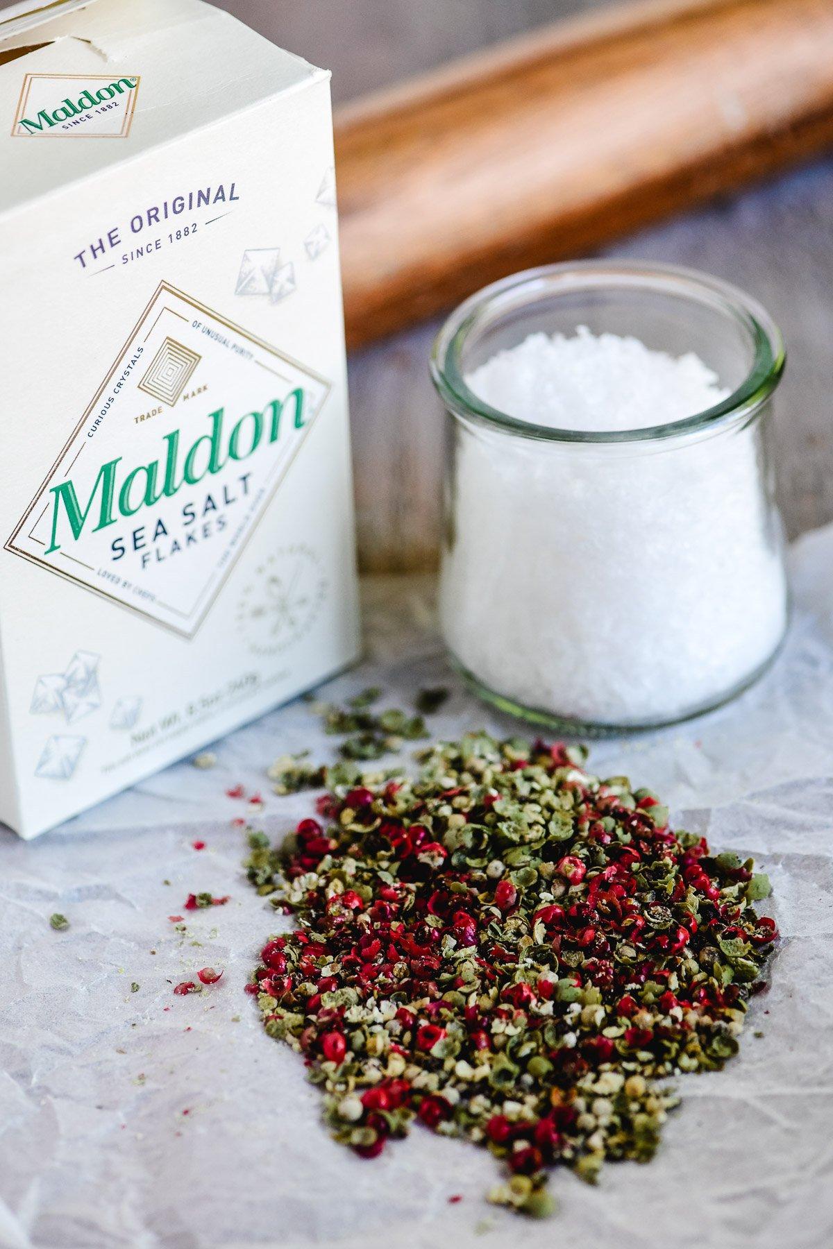 tricolor peppercorns and malden salt
