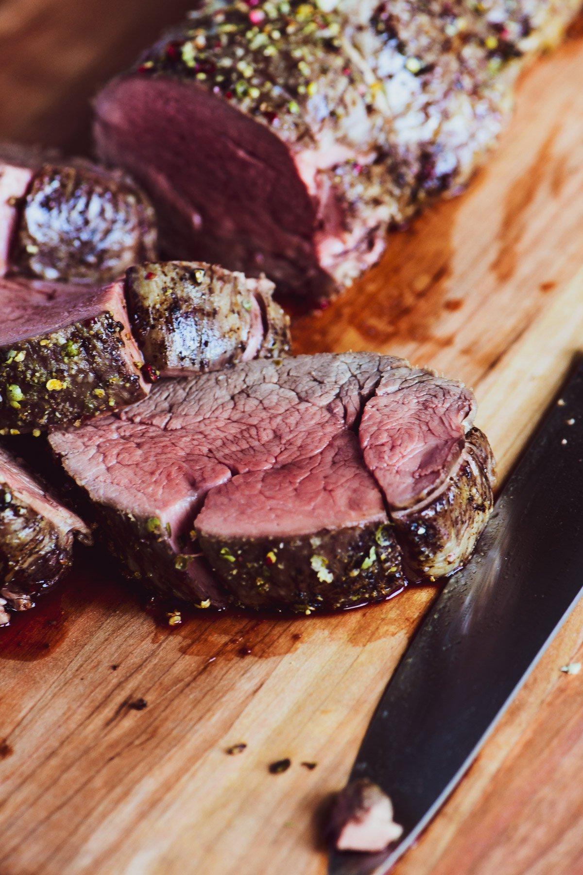 sliced beef tenderloin medium rare