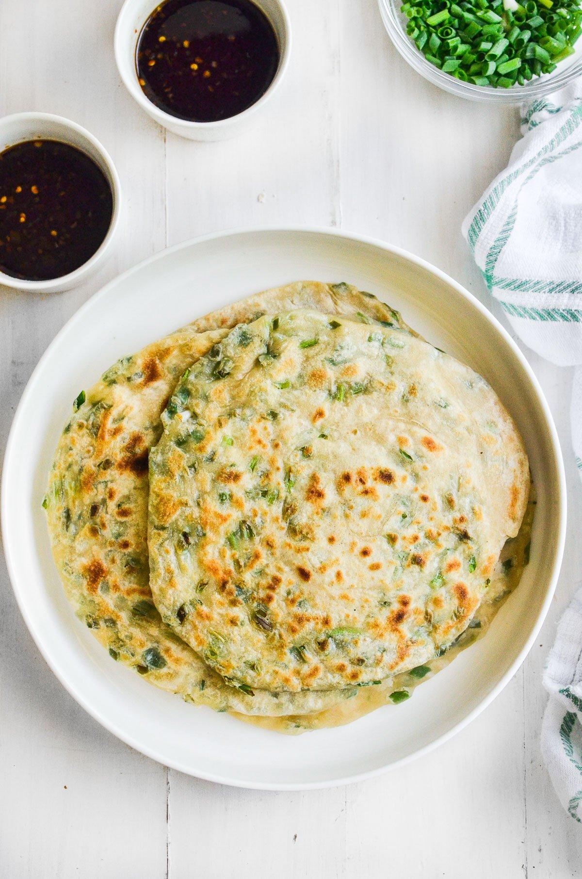 scallion pancakes on a plate