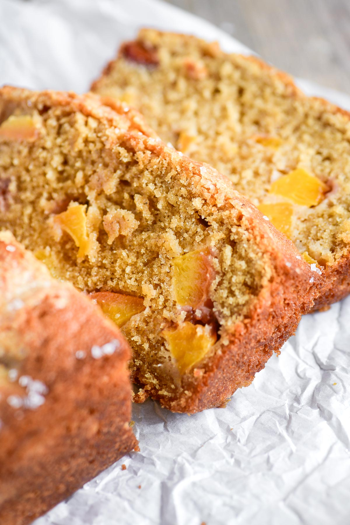 Spiced peach bread, sliced