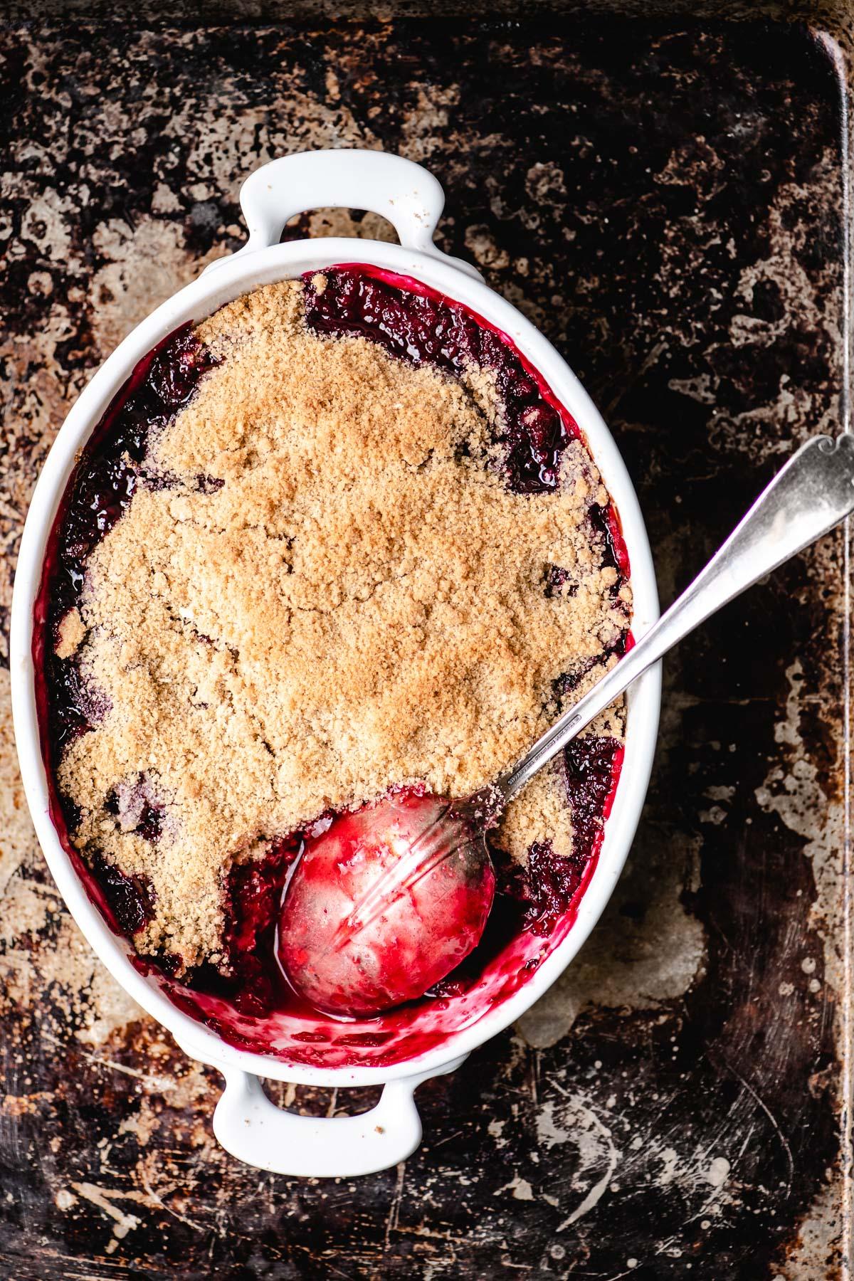 baking a plum crumble