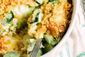Zucchini Casserole with spoon
