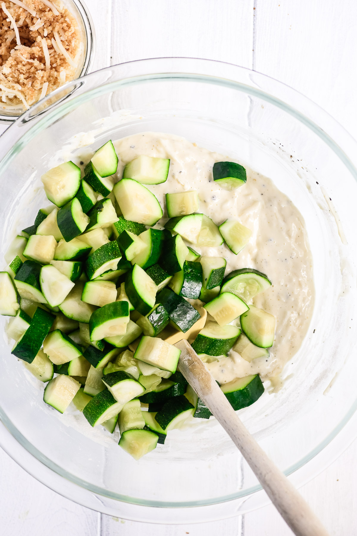 making zucchini casserole