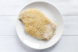 a chicken cutlet coated with panko crumbs