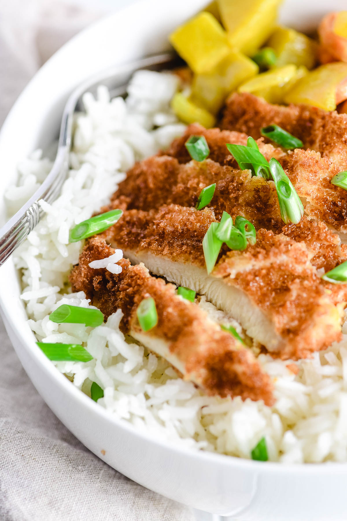 Crispy fried chicken cutlets on rice with Japanese curry