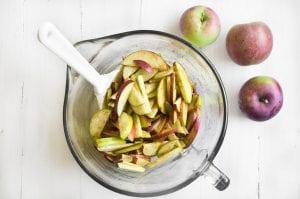 Sliced apples for apple galette
