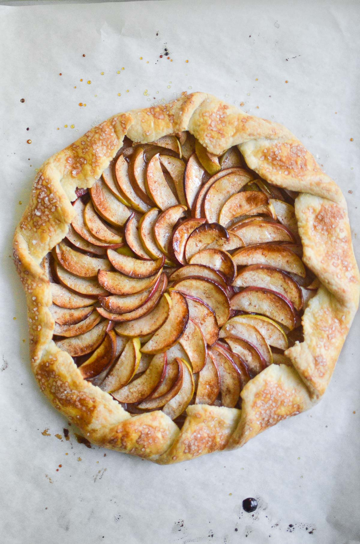 apple galette on a white board