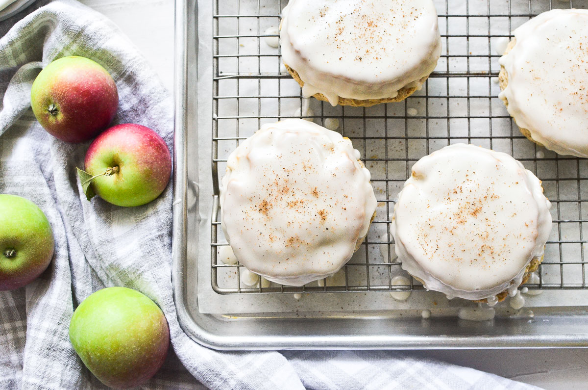 apple scones on a cooling rack