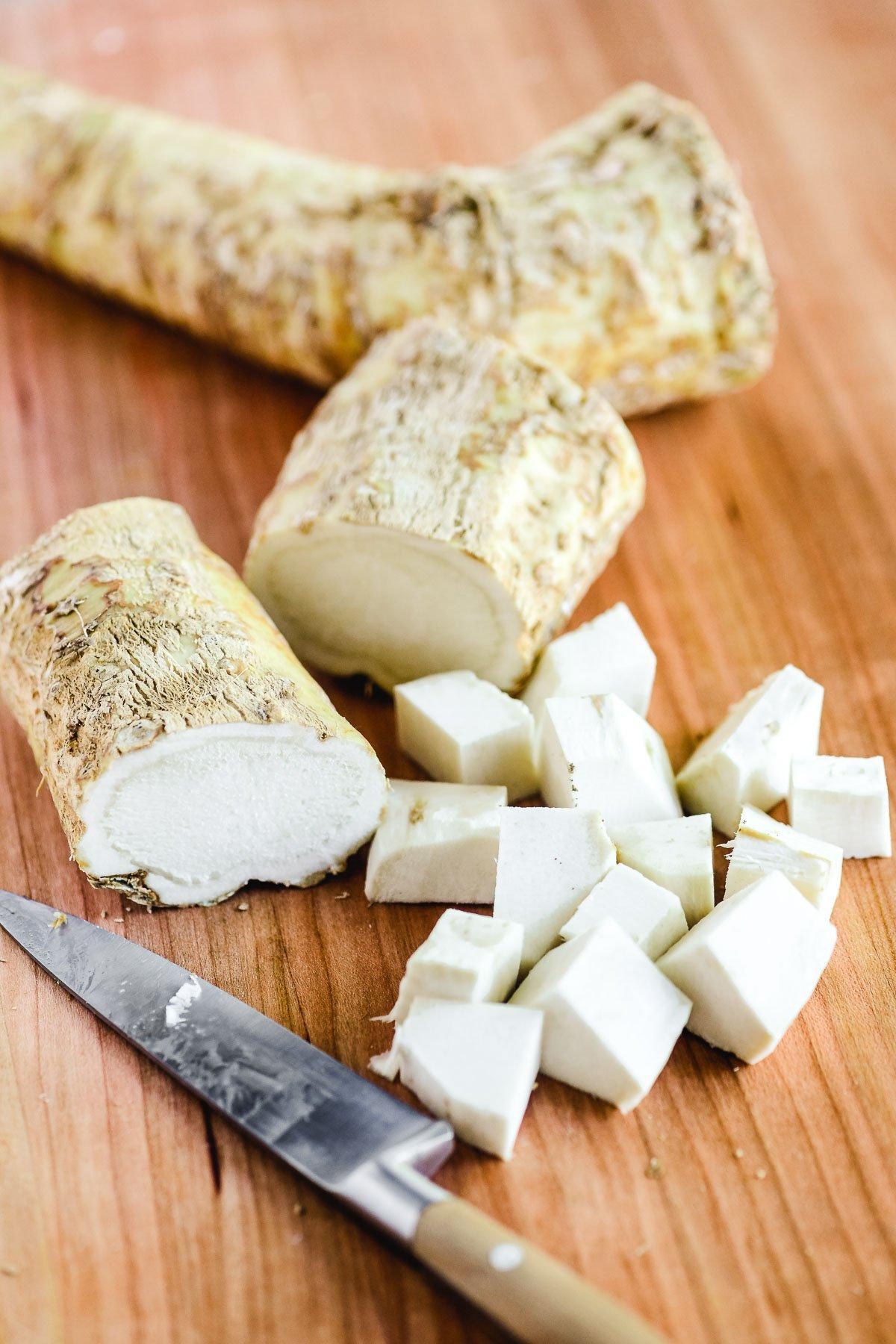 Chopping horseradish root