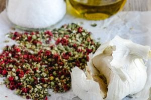 garlic and whole peppercorns