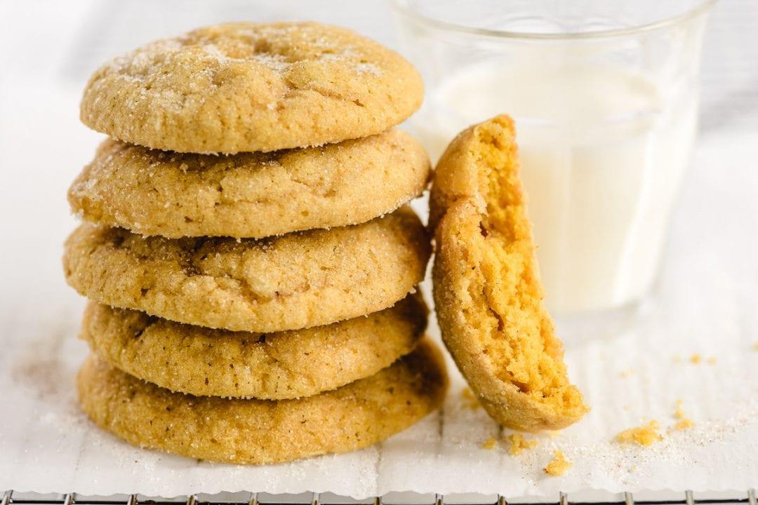 Soft Batch Pumpkin Cookies with a glass of milk