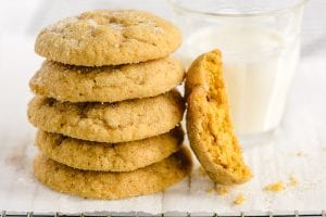 Soft Batch Pumpkin Cookies with a glass of milk