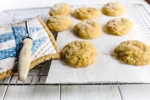 soft batch pumpkin cookies cooling on a rack