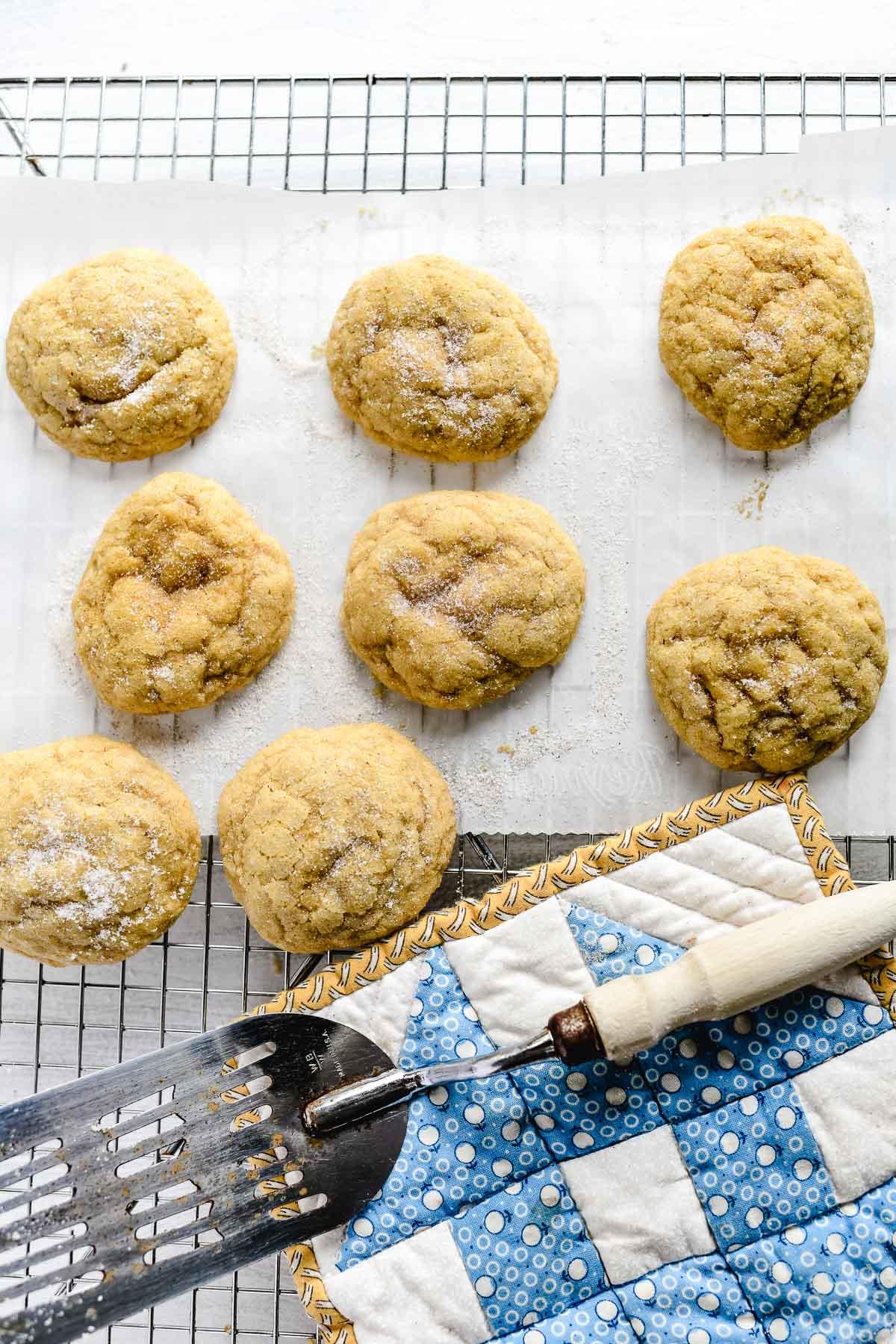 Pumpkin cookies cooling on a rack