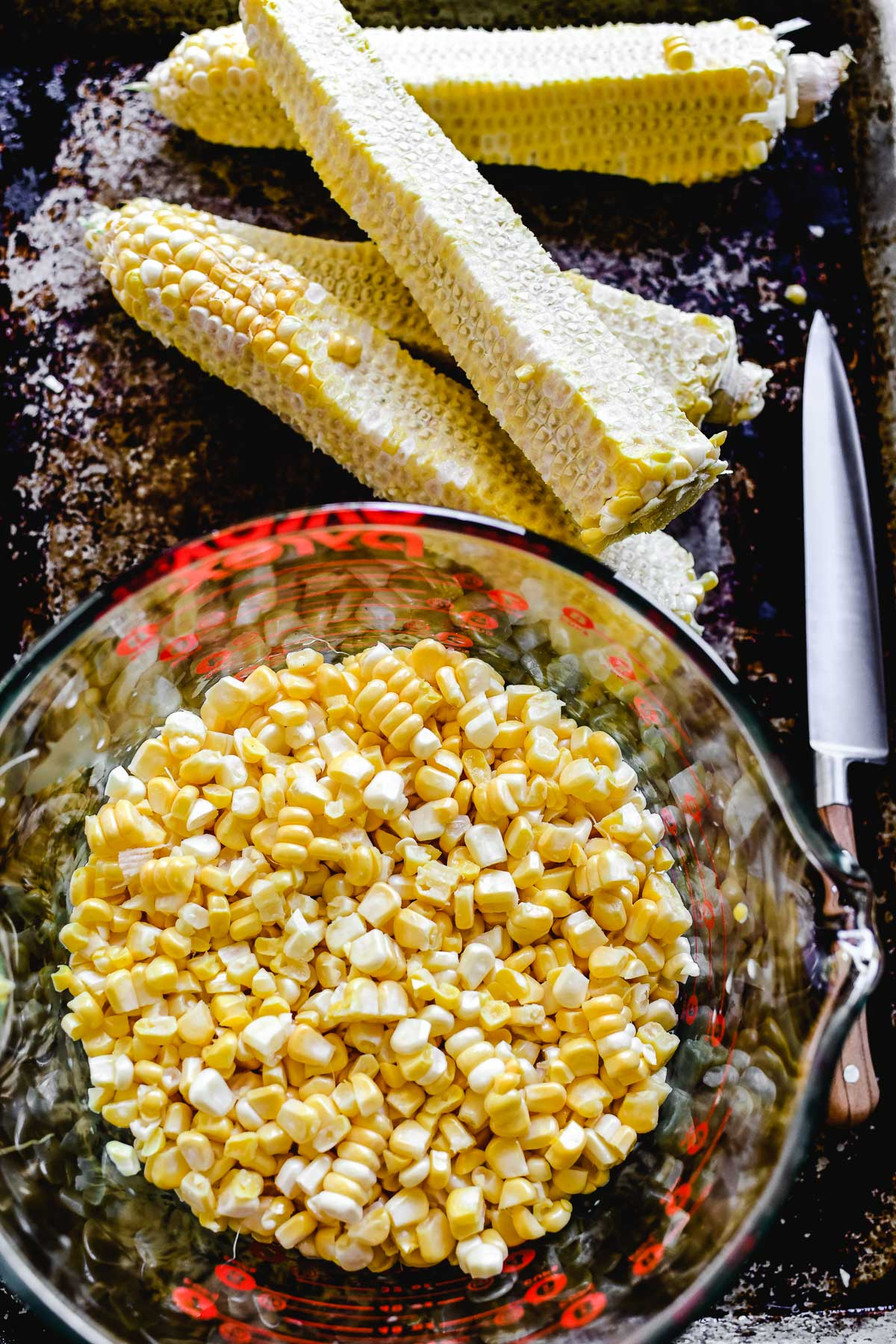Fresh corn kernels in a bowl