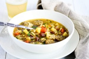 German potato soup with sausage
