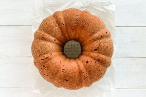 pumpkin bundt cake inverted from the pan