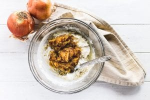 blending caramelized onions into dip ingredients