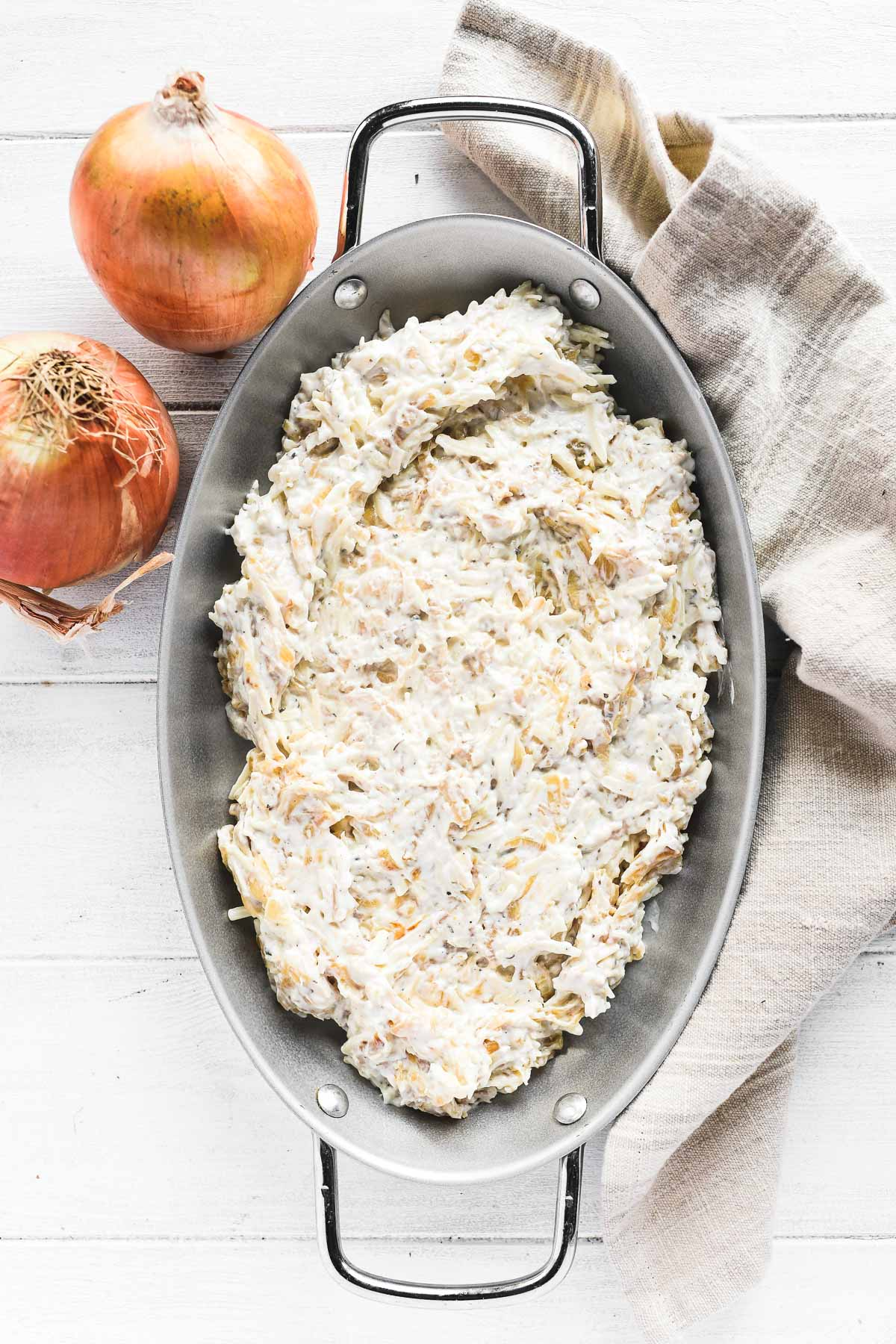 caramelized onion dip in a baking dish