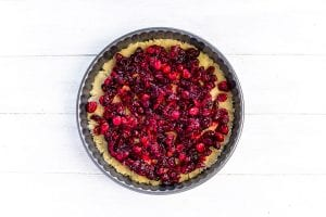 Cranberries on a tart crust