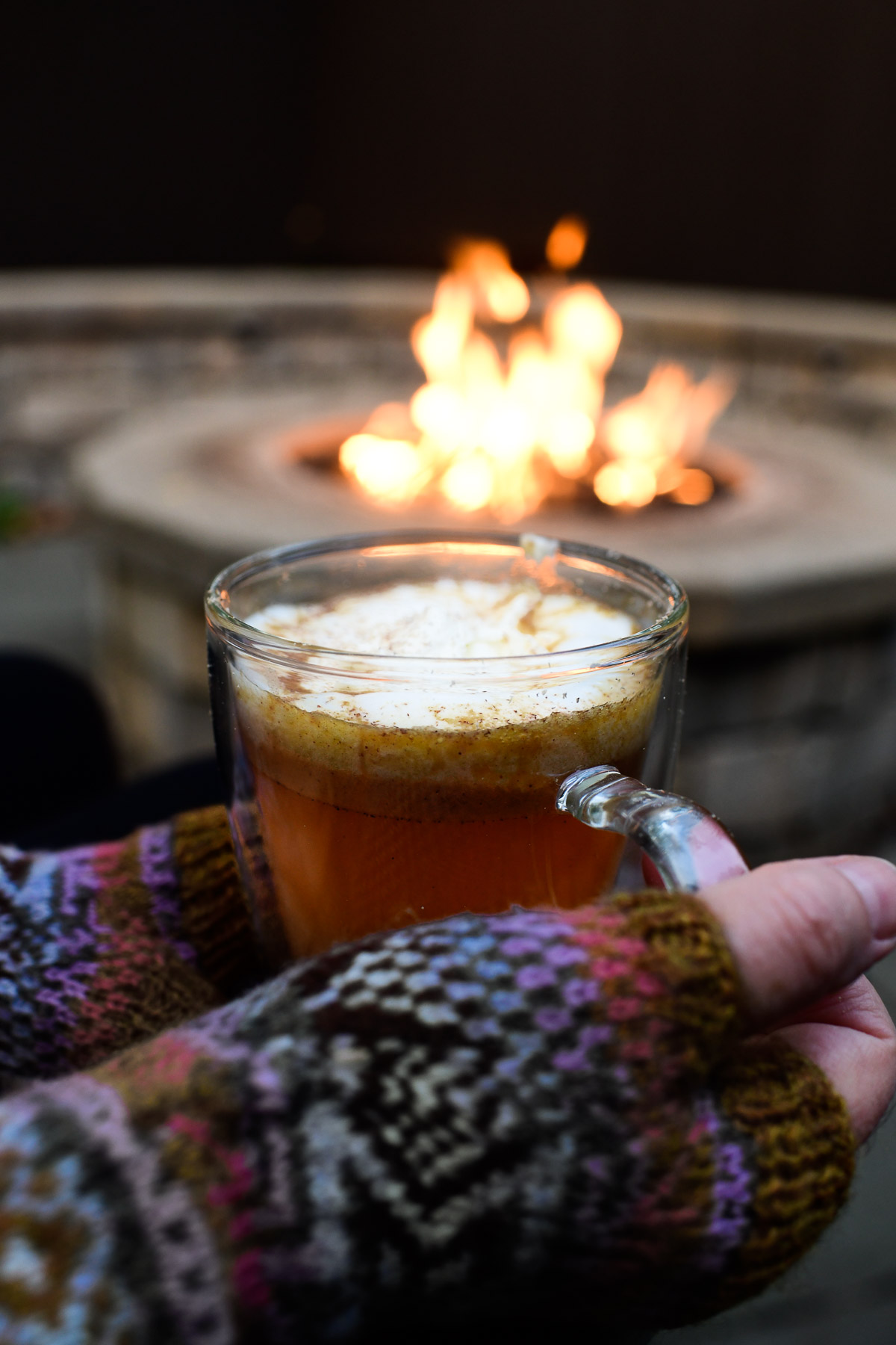 hot buttered cider in front of the fire
