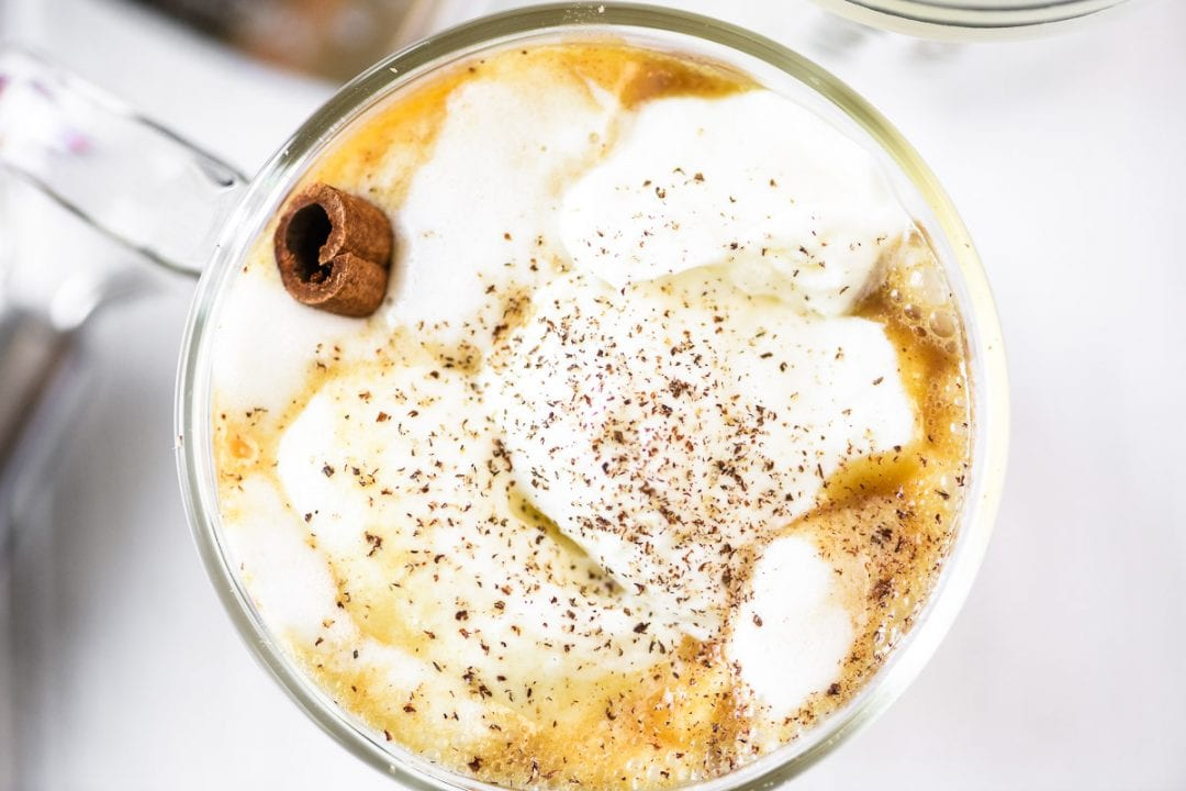 hot buttered cider with whipped cream