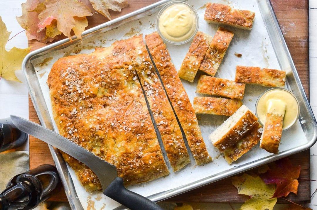 pretzel focaccia bread with dipping sauce