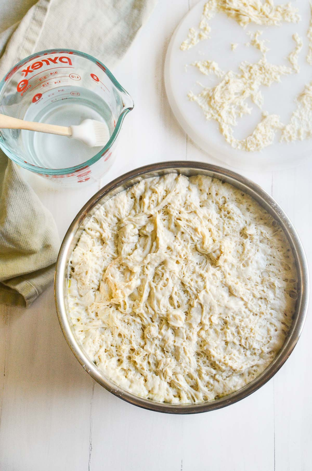 focaccia bread dough in a bowl