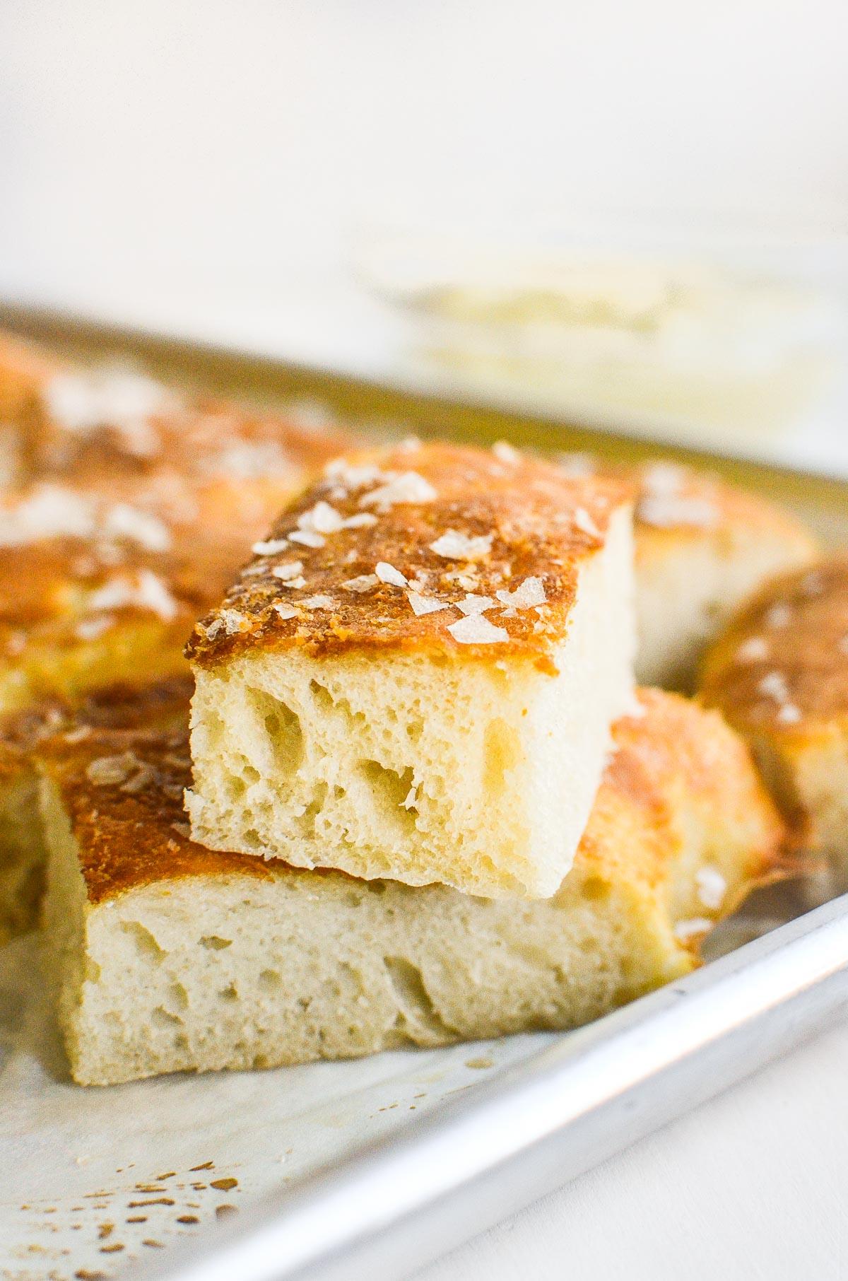 Pretzel focaccia bread, stacked