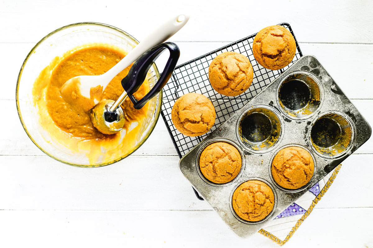 pumpkin cornbread muffins with muffin batter