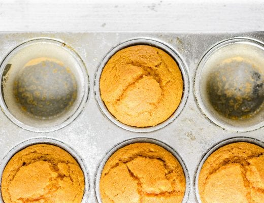 pumpkin cornbread muffins just out of the oven