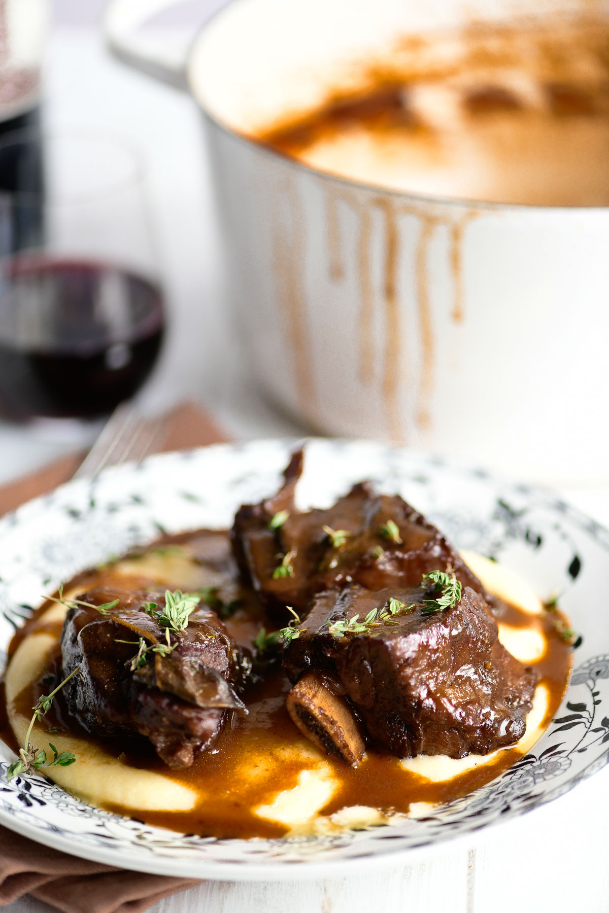 wine braised short ribs on polenta
