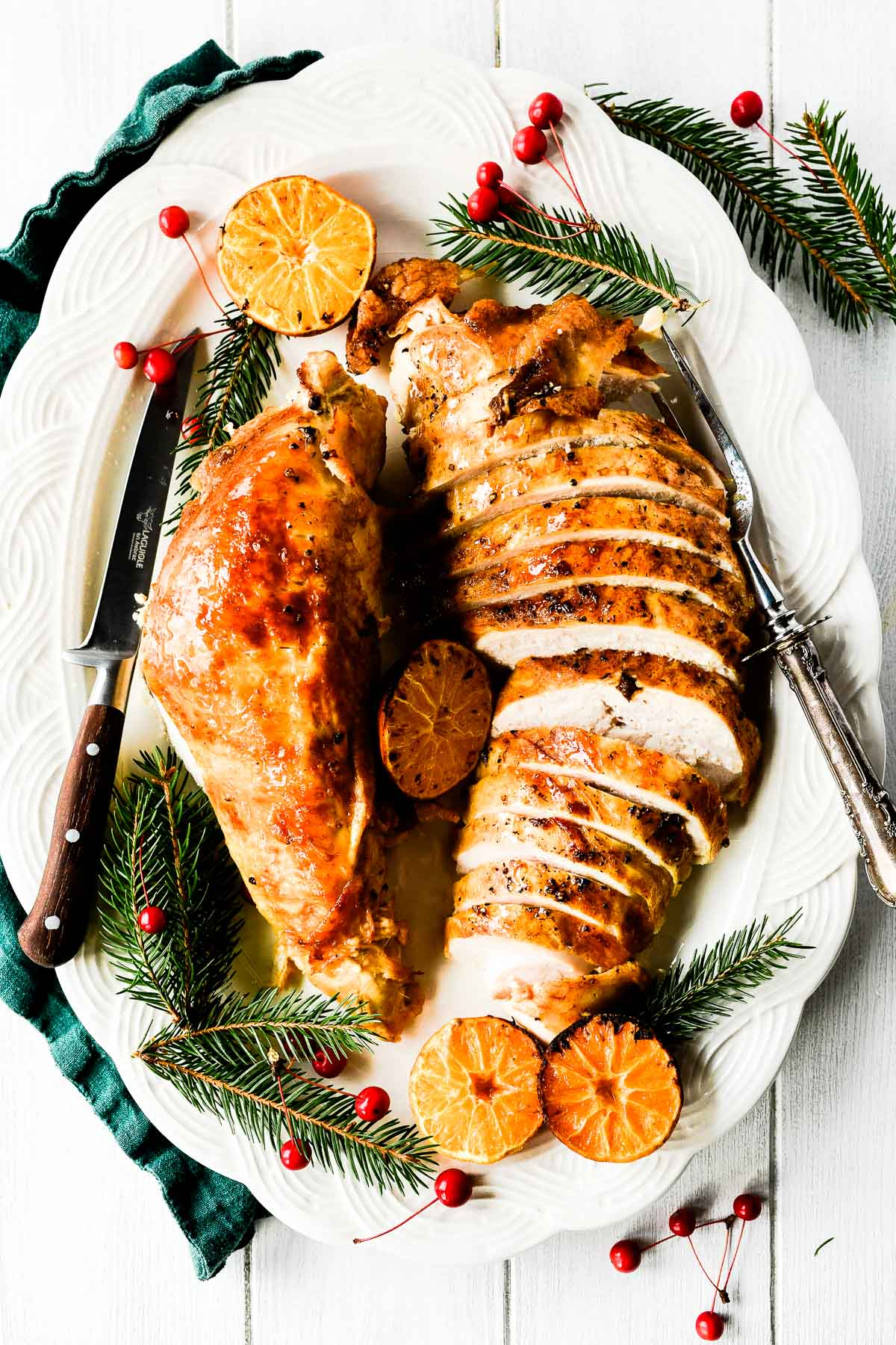 A turkey breast sliced on a platter