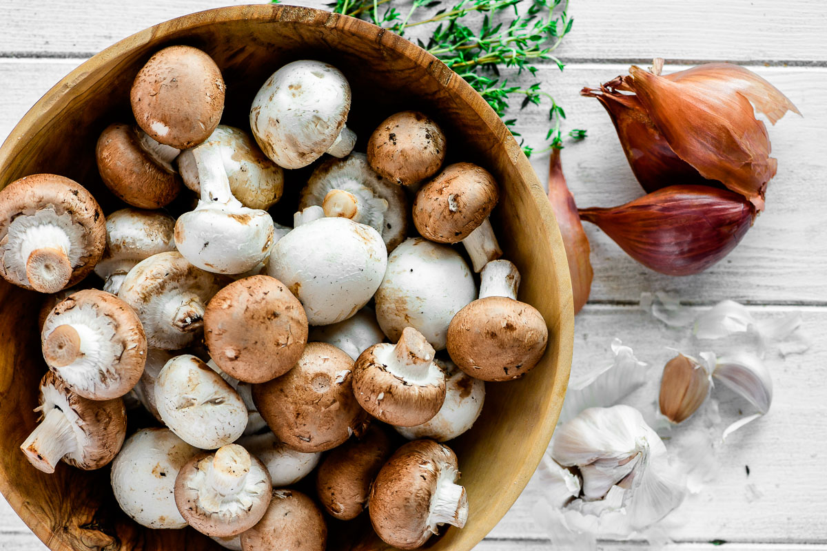 mushrooms in a wooden bowl