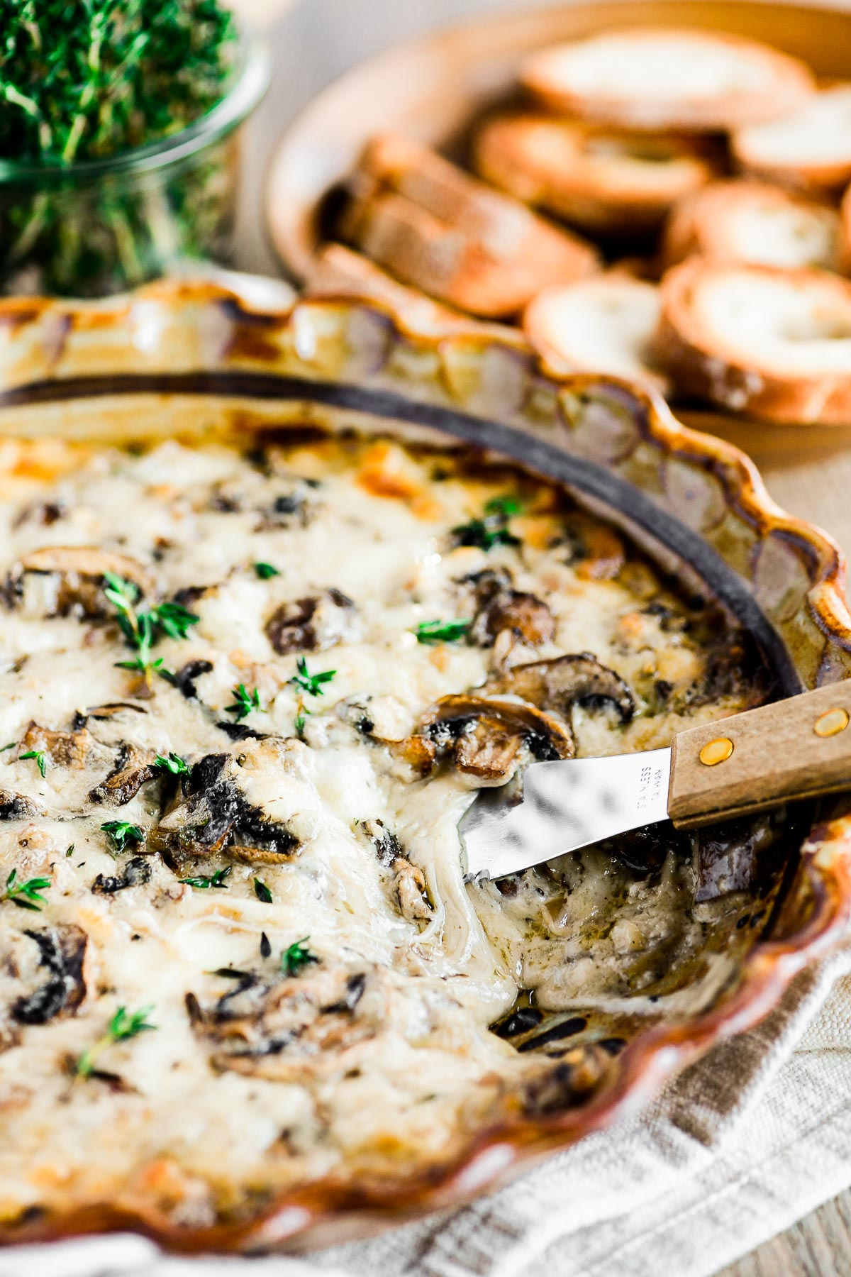creamy cheesy mushroom dip in a baking dish