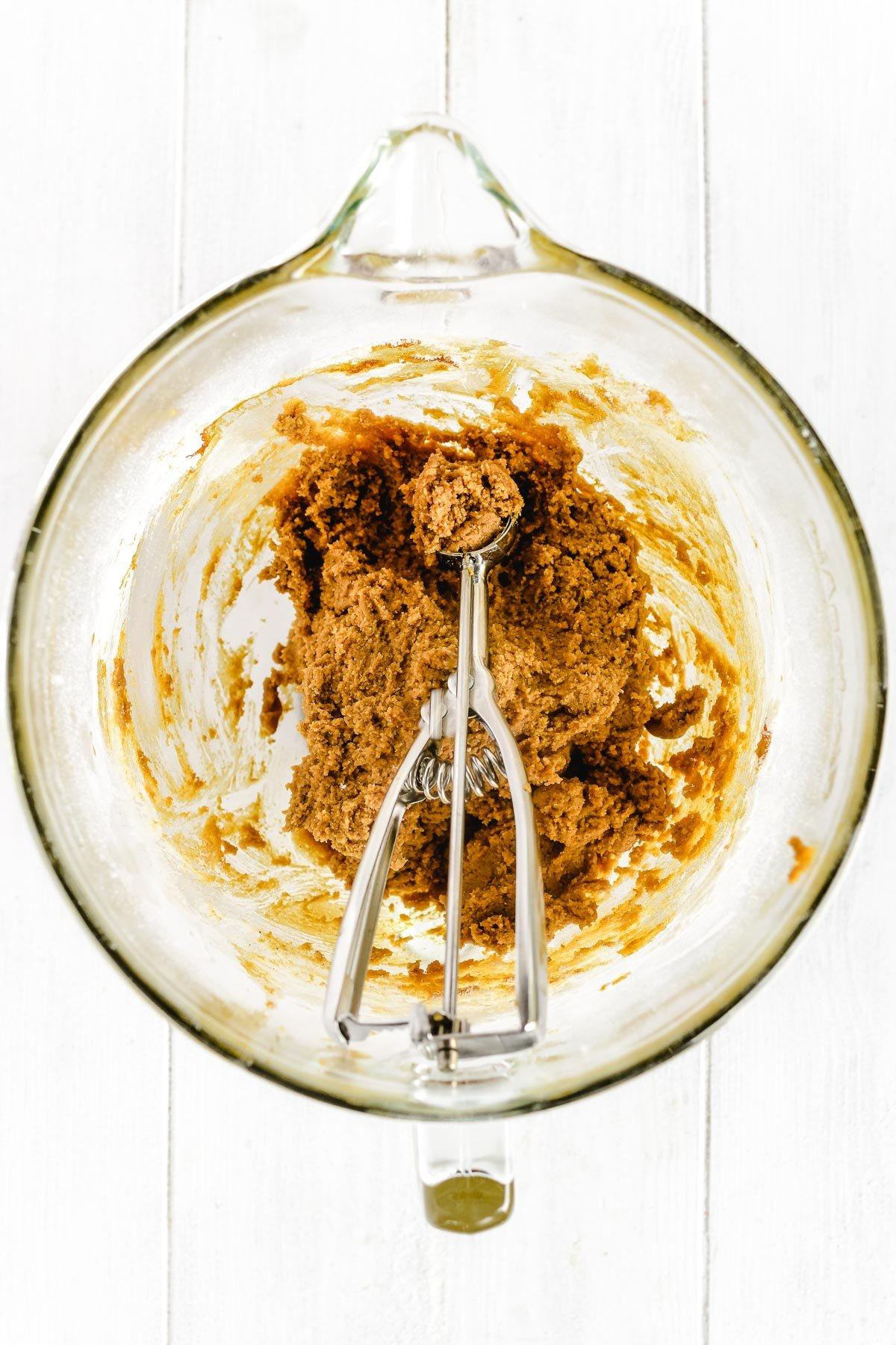 Making ginger molasses cookie batter