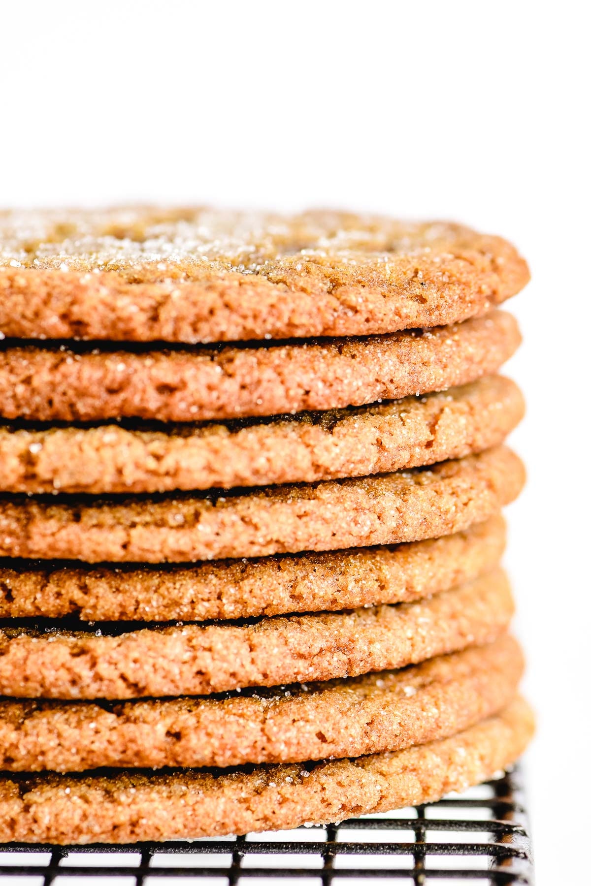 a stack of chewy molasses cookies