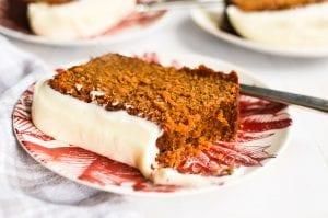 a slice of gingerbread loaf cake