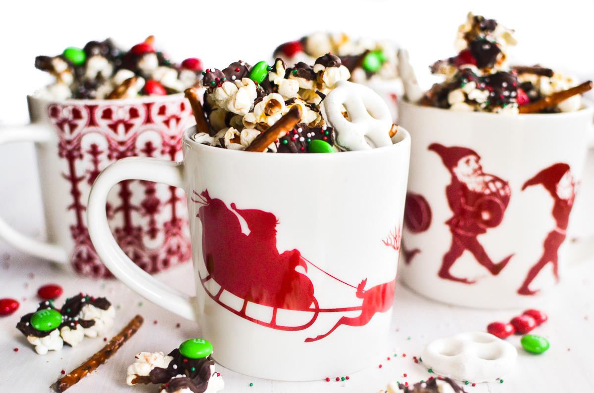 holiday popcorn in a mug