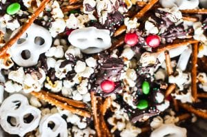 Holiday Popcorn with pretzels