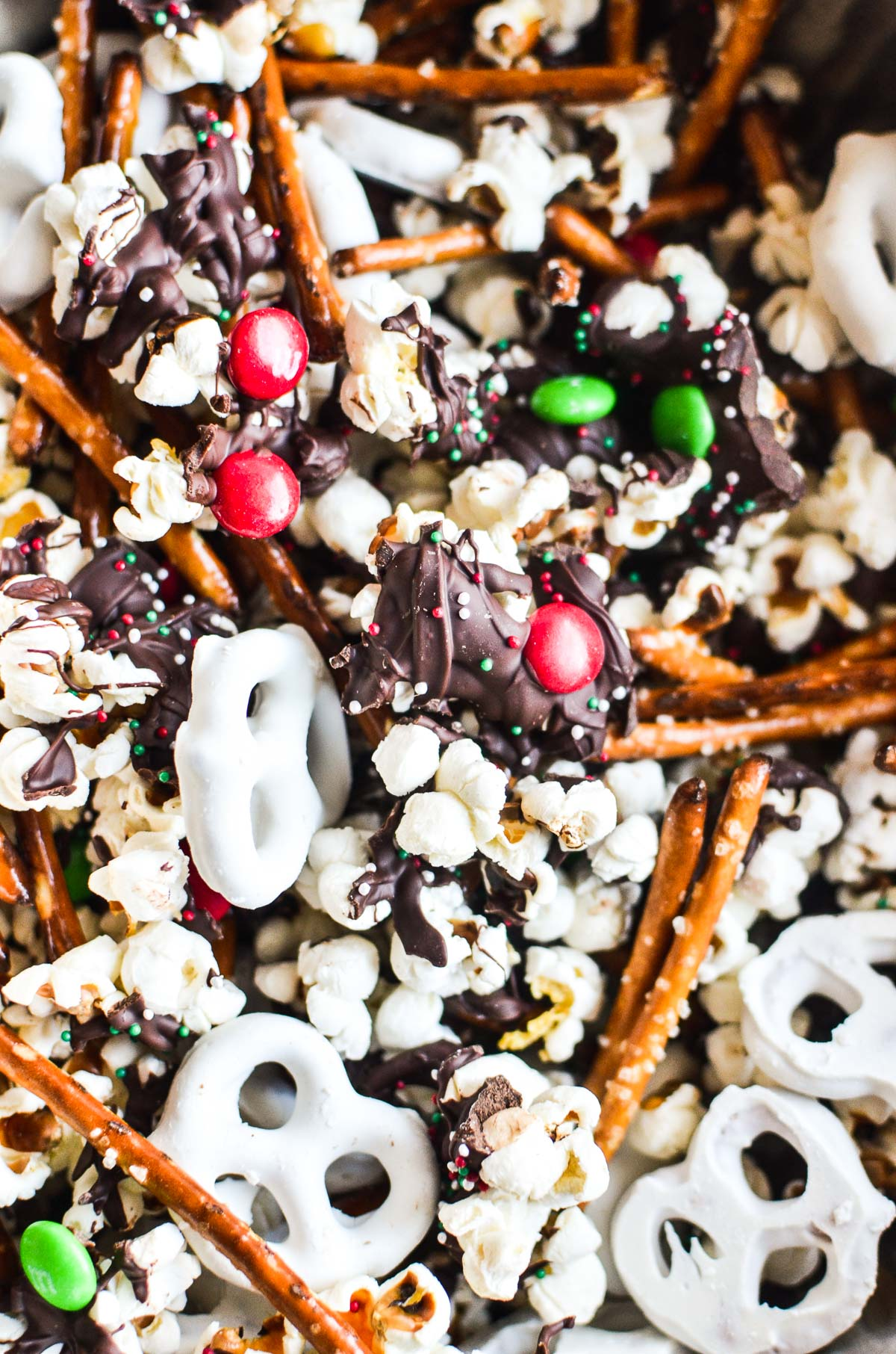 holiday snack mix with popcorn