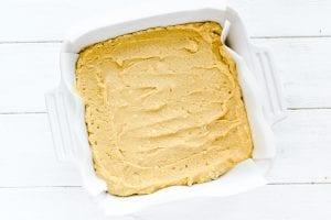 maple cornbread batter in baking pan