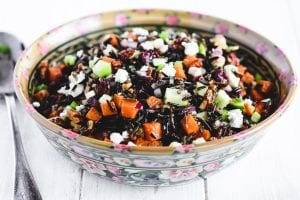 wild rice salad in a serving bowl