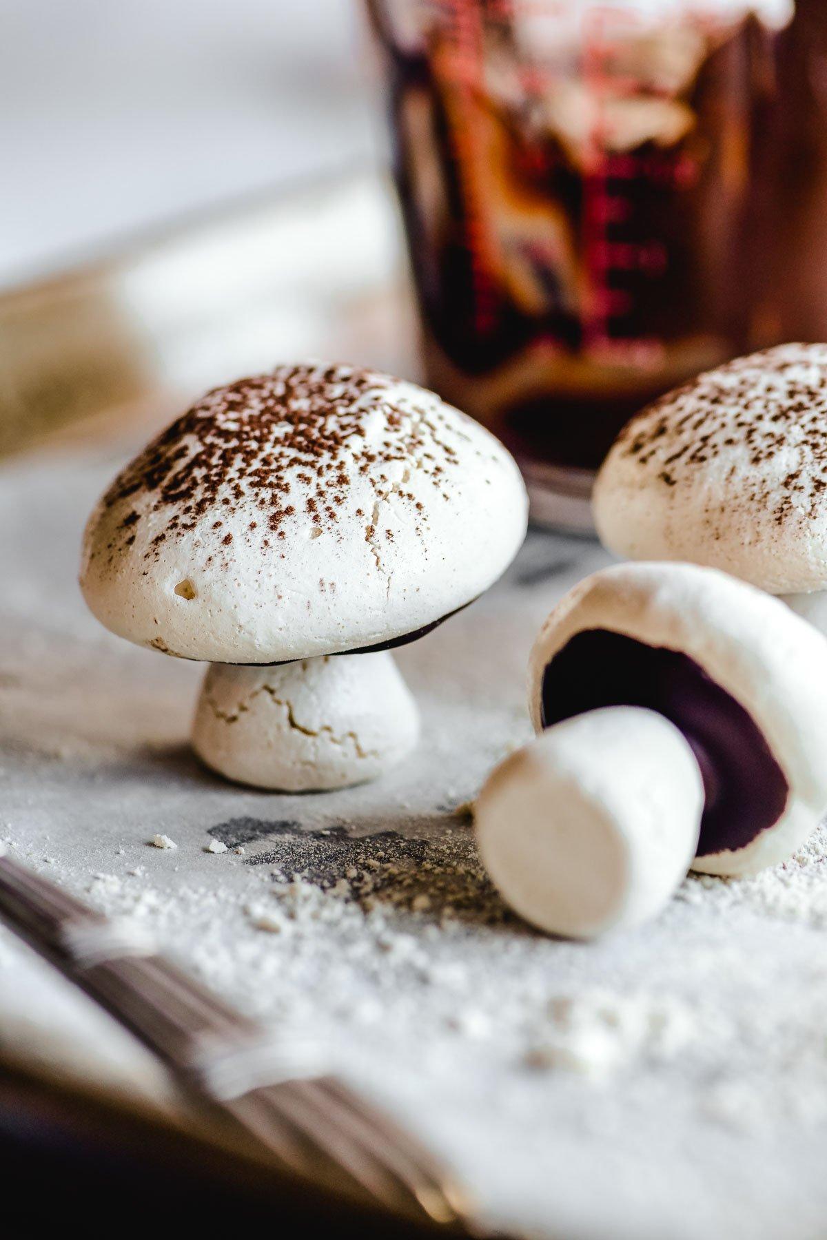 Homemade meringue mushrooms