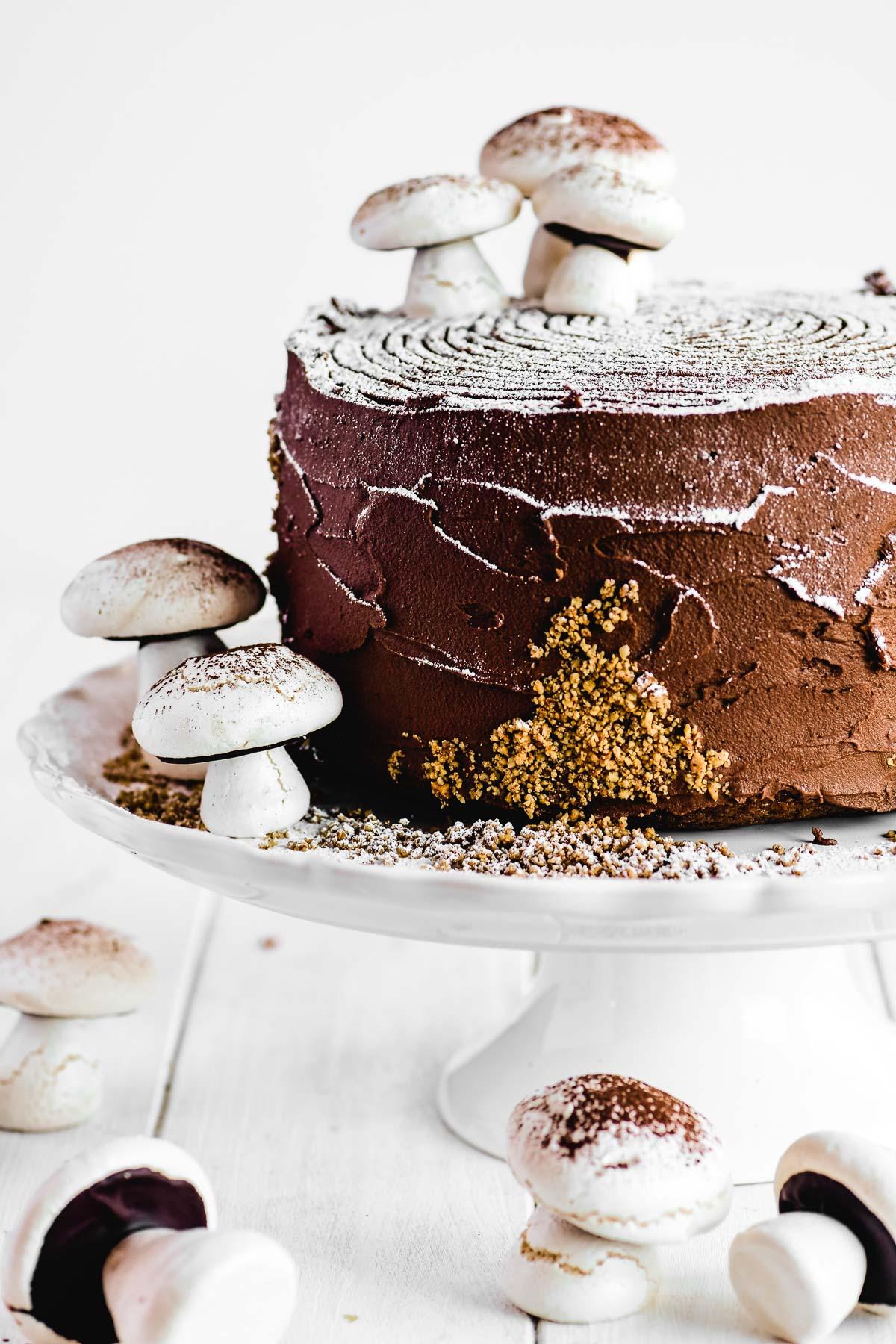 buche de noel layer cake with meringue mushrooms