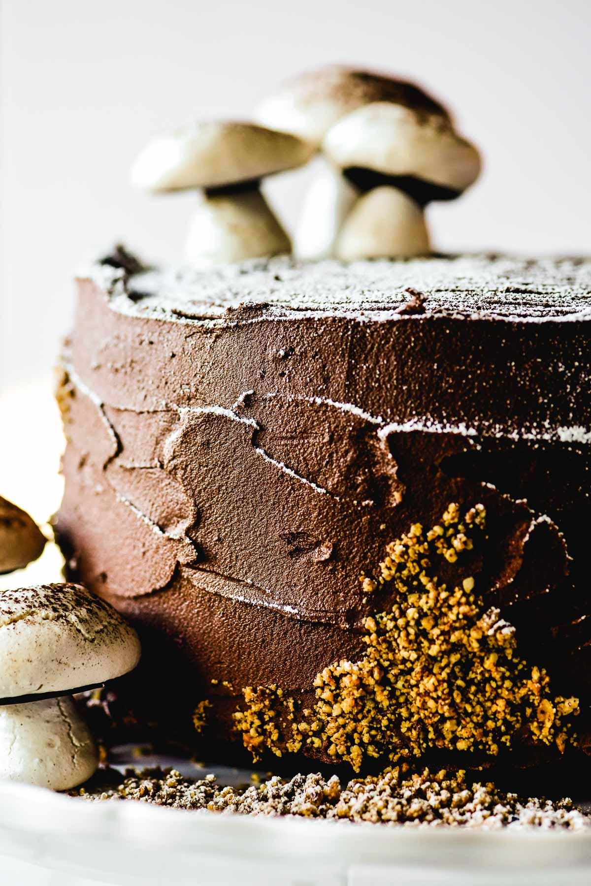 buche de noel cake topped with mushroom meringues