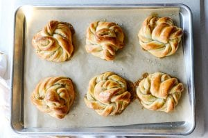 cardamom buns out of the oven