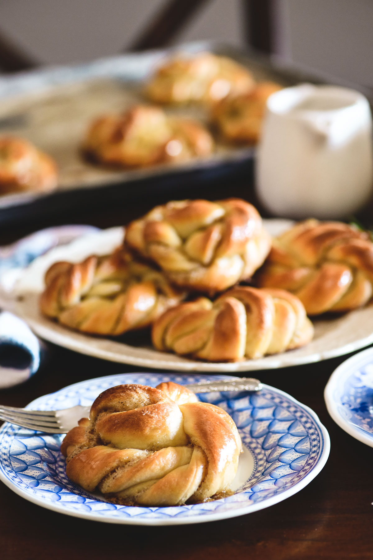 cardamom buns on a table