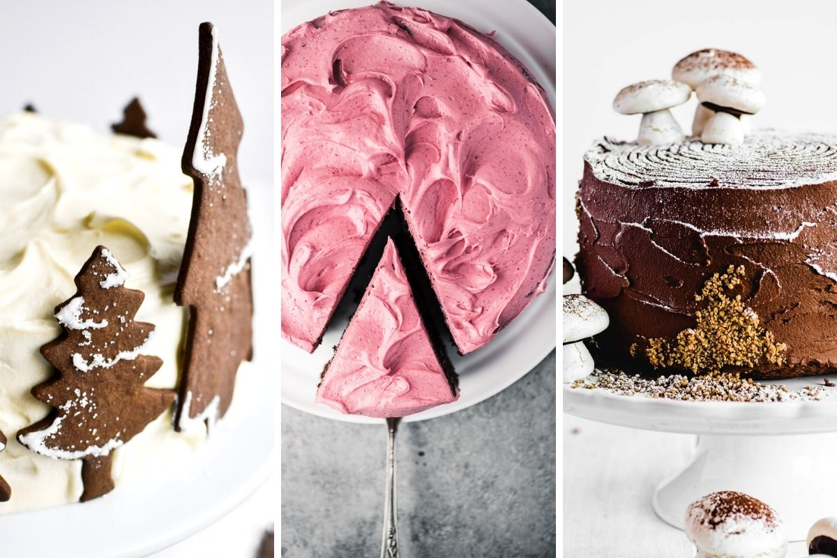 multiple photos of cake